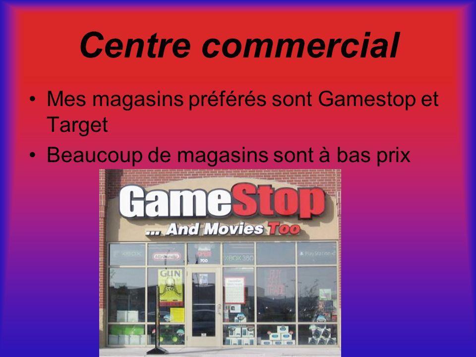 Centre commercial Mes magasins préférés sont Gamestop et Target Beaucoup de magasins sont à bas prix