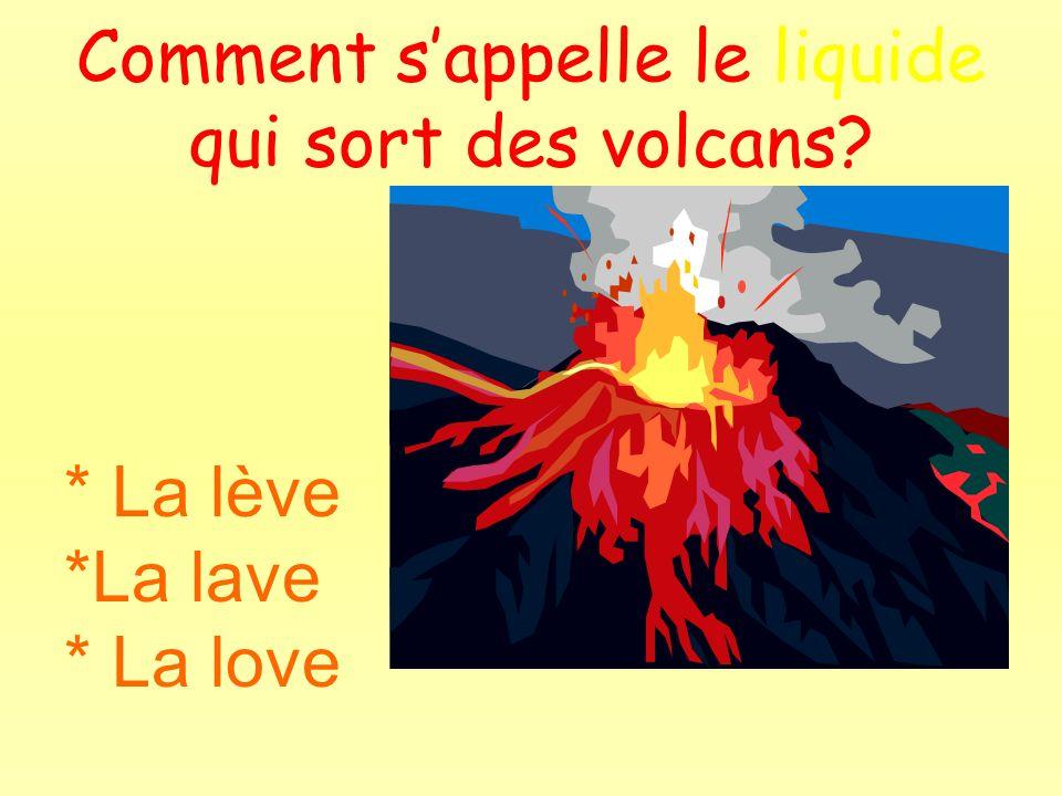 Comment sappelle le liquide qui sort des volcans? * La lève *La lave * La love