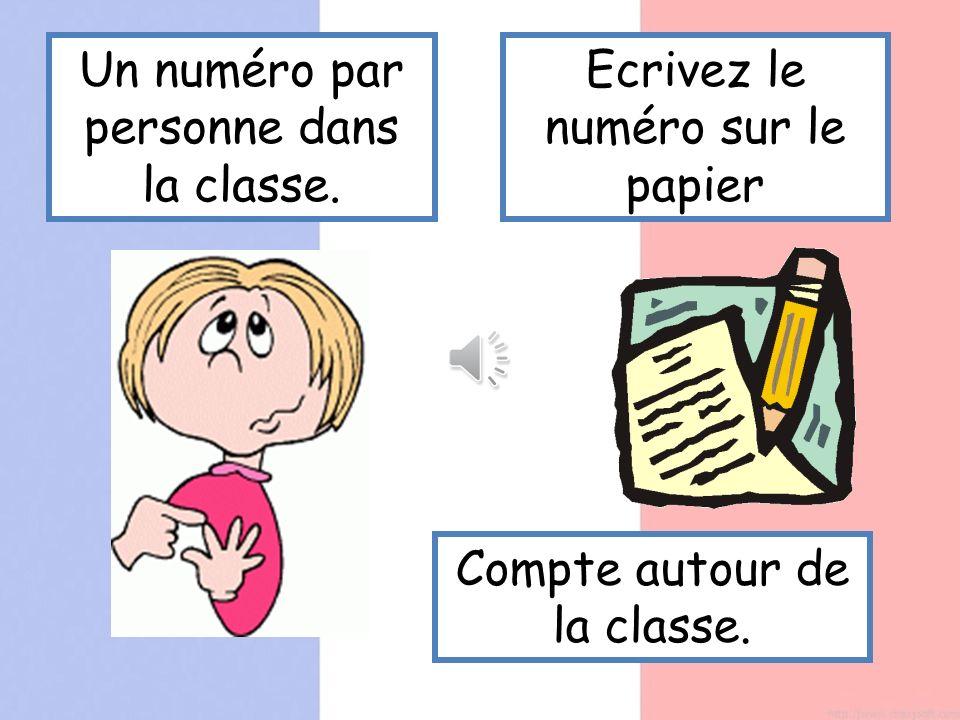 Un numéro par personne dans la classe. Ecrivez le numéro sur le papier Compte autour de la classe.