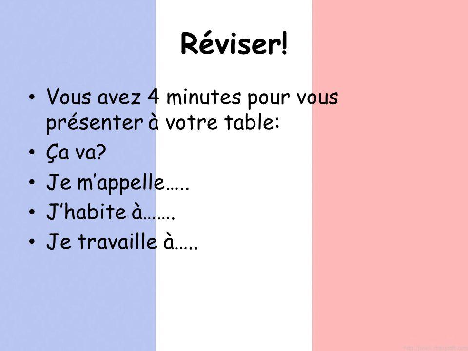 Réviser! Vous avez 4 minutes pour vous présenter à votre table: Ça va? Je mappelle….. Jhabite à……. Je travaille à…..