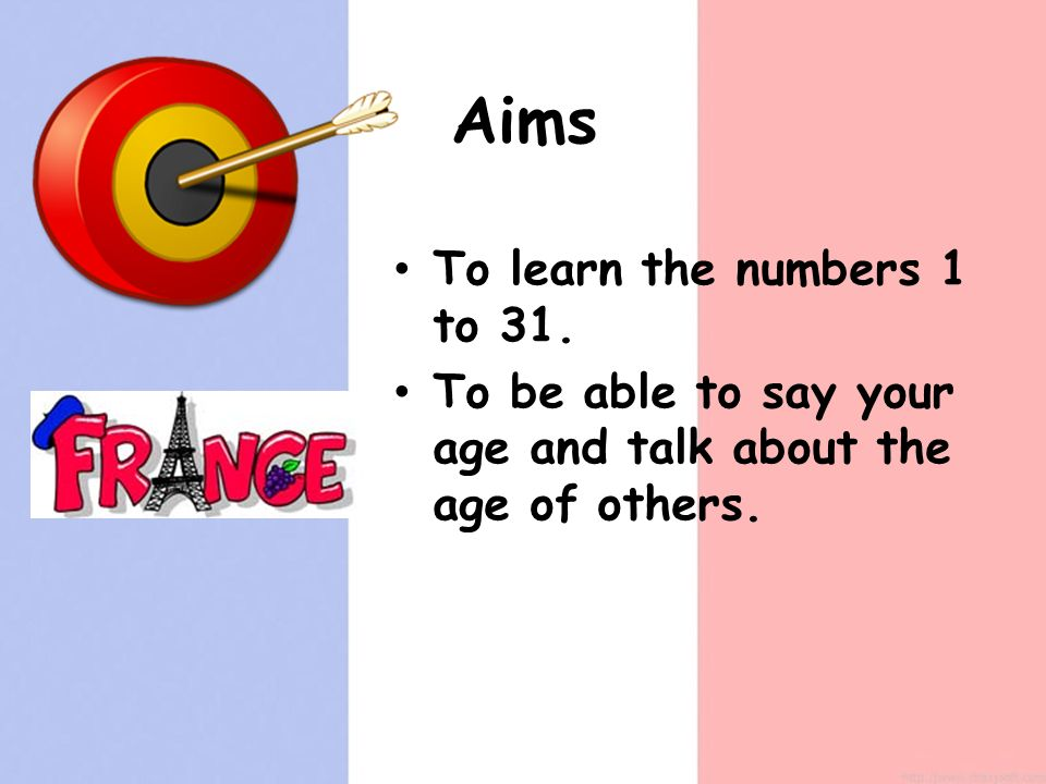 Aims To learn the numbers 1 to 31. To be able to say your age and talk about the age of others.