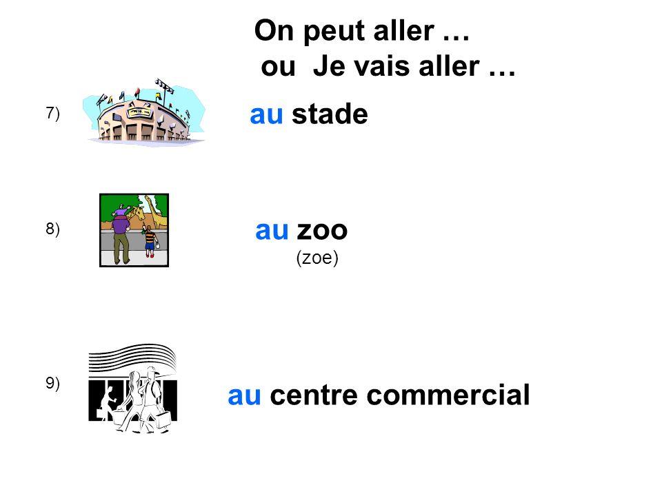 7) 8) 9) au stade au zoo (zoe) au centre commercial On peut aller … ou Je vais aller …