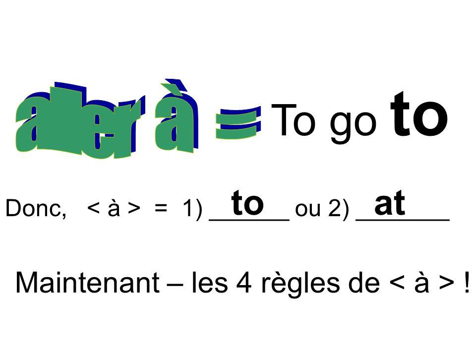 To go to Donc, = 1) ______ ou 2) _______ toat Maintenant – les 4 règles de !