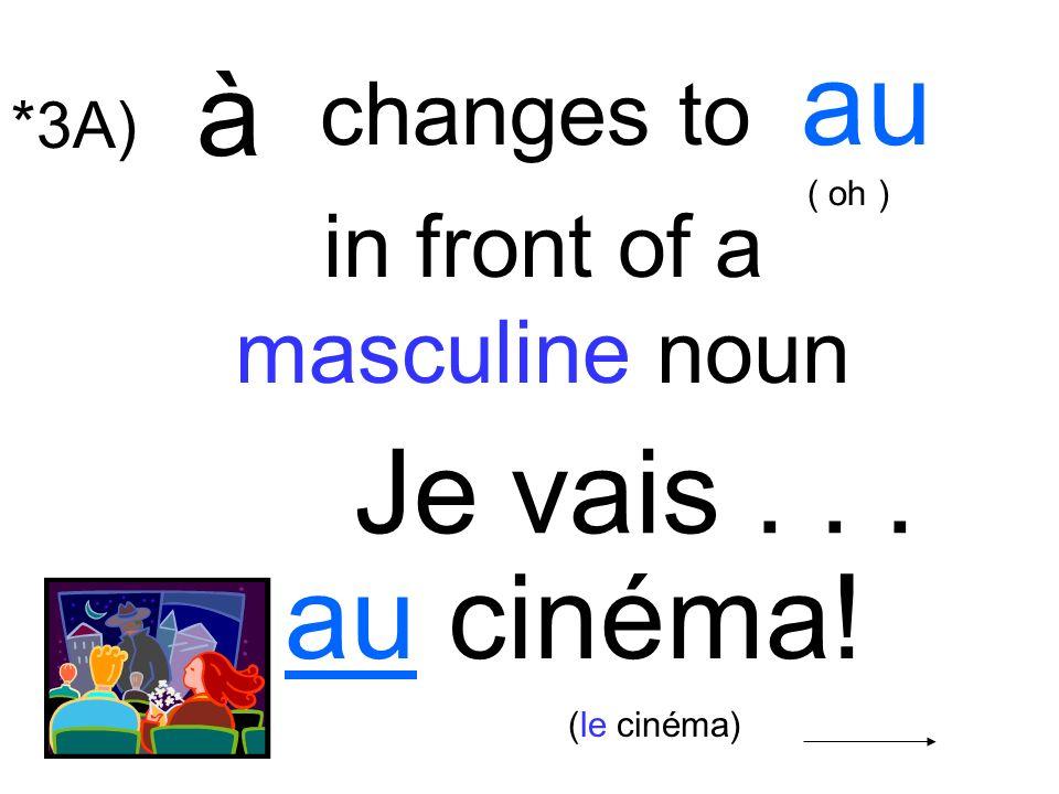 Je vais... au cinéma! in front of a masculine noun à changes to au ( oh ) (le cinéma) *3A)
