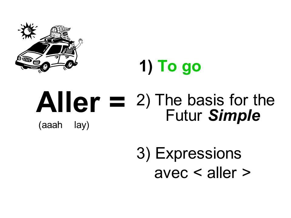 1) To go Aller = (aaah lay) 2) The basis for the Futur Simple 3) Expressions avec