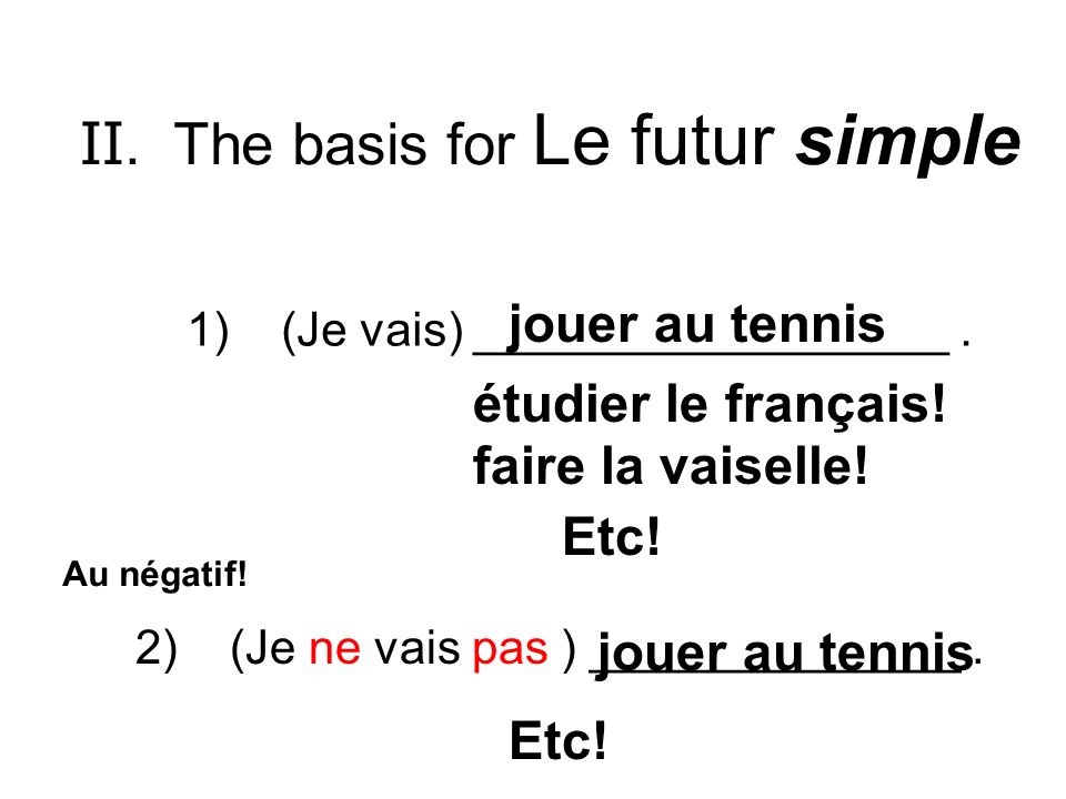 II. The basis for Le futur simple 1) (Je vais) __________________. jouer au tennis étudier le français! faire la vaiselle! Etc! 2) (Je ne vais pas ) _