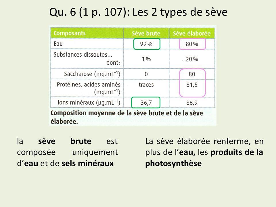 Qu. 6 (1 p. 107): Les 2 types de sève 1 2 la sève brute est composée uniquement deau et de sels minéraux La sève élaborée renferme, en plus de leau, l