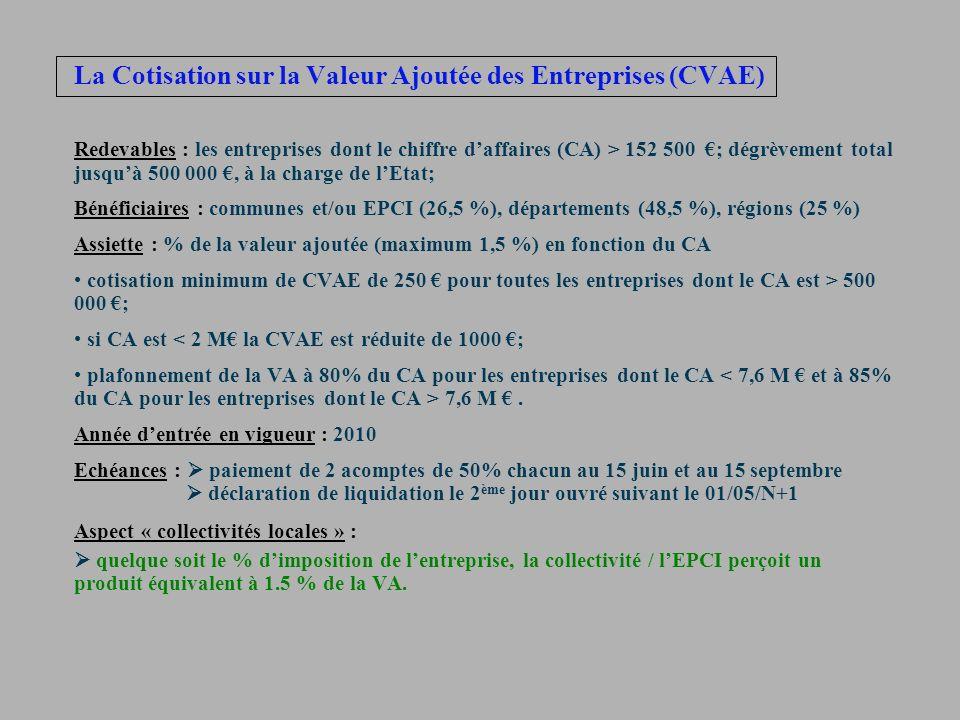 La Cotisation sur la Valeur Ajoutée des Entreprises (CVAE) Redevables : les entreprises dont le chiffre daffaires (CA) > 152 500 ; dégrèvement total j