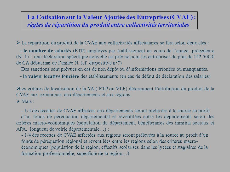 La Cotisation sur la Valeur Ajoutée des Entreprises (CVAE) : règles de répartition du produit entre collectivités territoriales La répartition du prod
