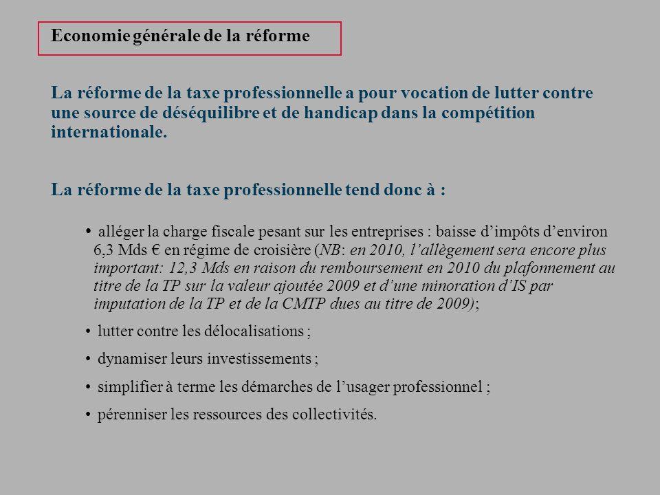 Economie générale de la réforme La réforme de la taxe professionnelle a pour vocation de lutter contre une source de déséquilibre et de handicap dans