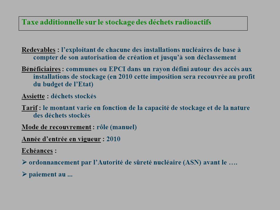 Taxe additionnelle sur le stockage des déchets radioactifs Redevables : lexploitant de chacune des installations nucléaires de base à compter de son a