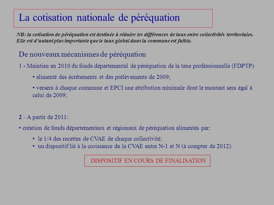 La cotisation nationale de péréquation De nouveaux mécanismes de péréquation 1 - Maintien en 2010 du fonds départemental de péréquation de la taxe pro