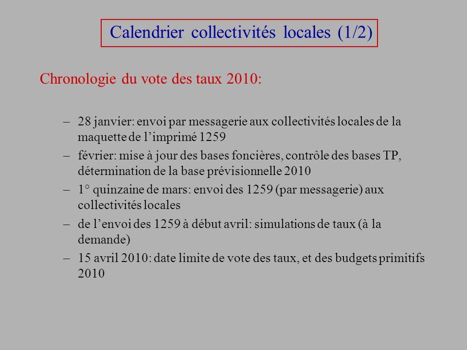 Calendrier collectivités locales (1/2) Chronologie du vote des taux 2010: –28 janvier: envoi par messagerie aux collectivités locales de la maquette d