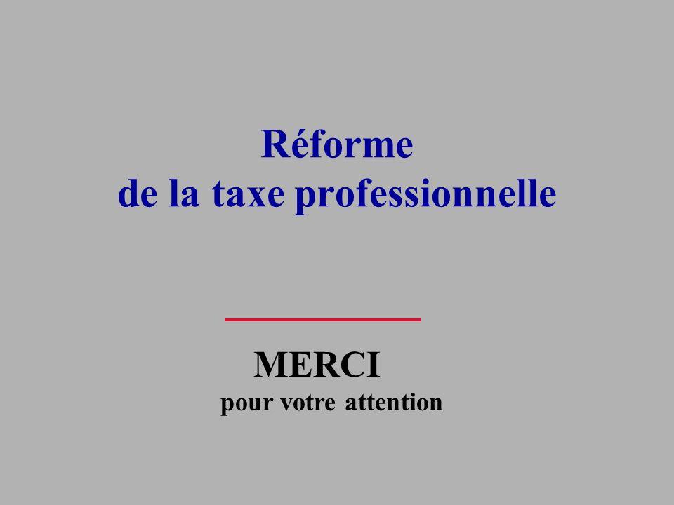 Réforme de la taxe professionnelle MERCI pour votre attention