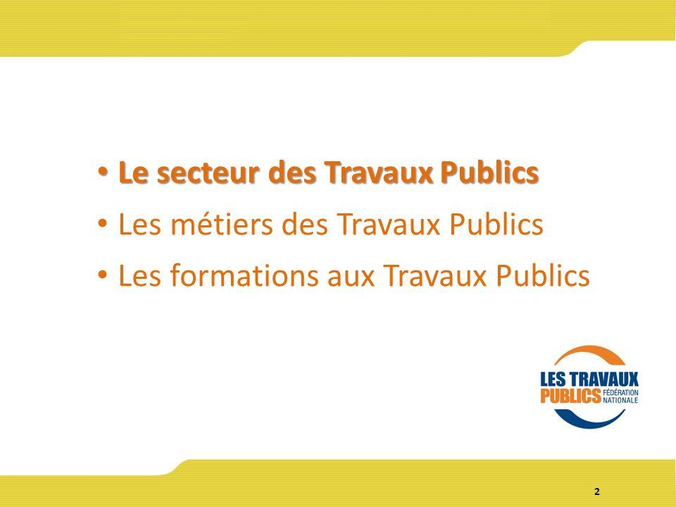 2 Le secteur des Travaux Publics Le secteur des Travaux Publics Les métiers des Travaux Publics Les formations aux Travaux Publics