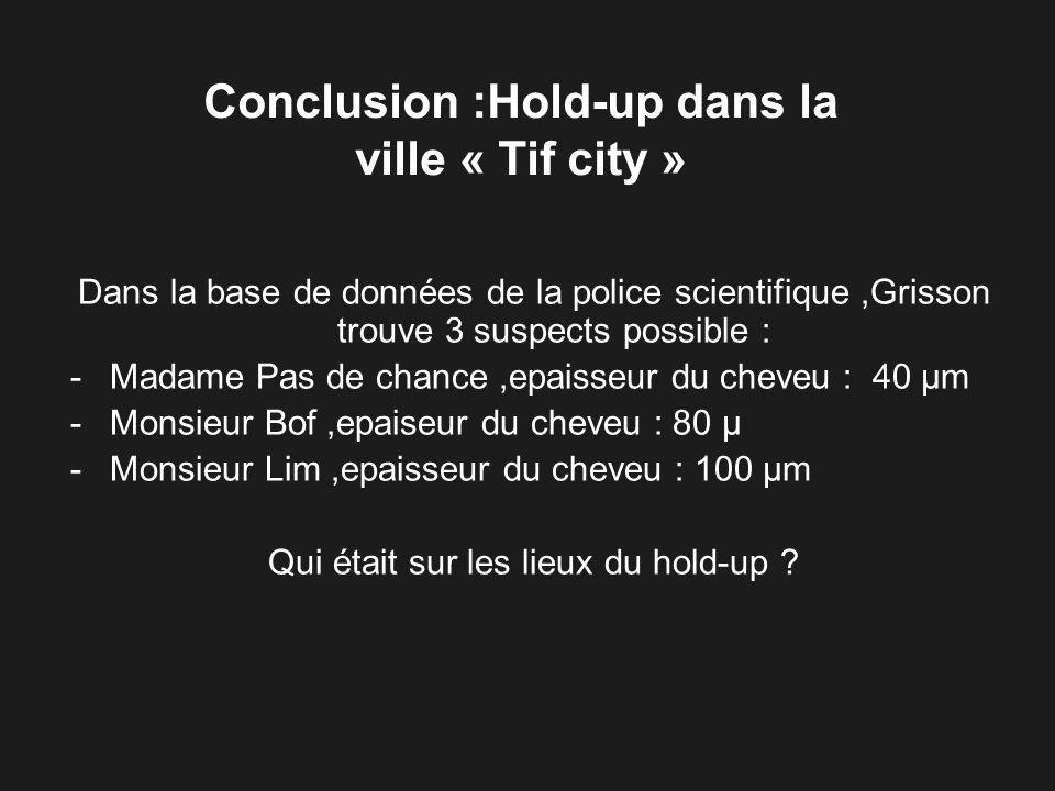 Dans la base de données de la police scientifique,Grisson trouve 3 suspects possible : -Madame Pas de chance,epaisseur du cheveu : 40 µm -Monsieur Bof