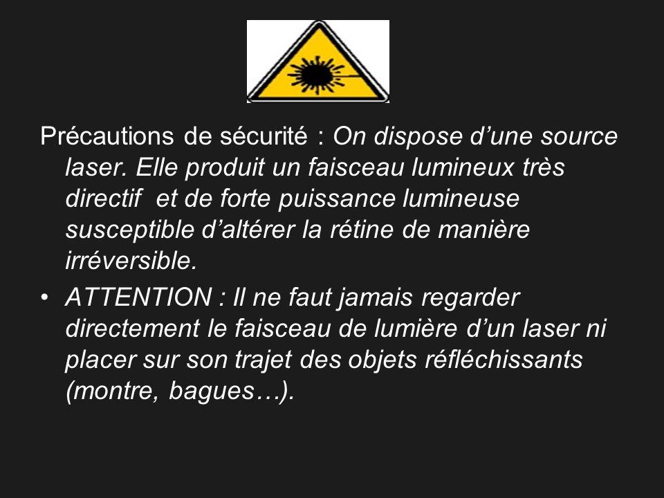 Précautions de sécurité : On dispose dune source laser. Elle produit un faisceau lumineux très directif et de forte puissance lumineuse susceptible da