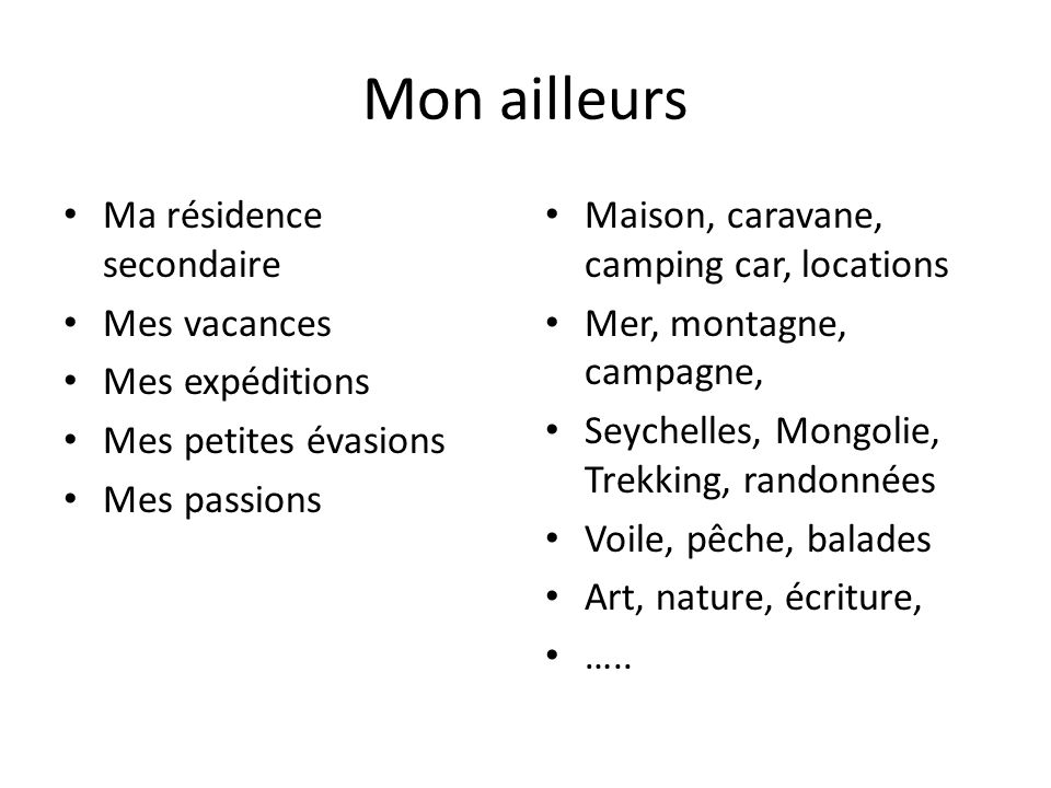 Mon ailleurs Ma résidence secondaire Mes vacances Mes expéditions Mes petites évasions Mes passions Maison, caravane, camping car, locations Mer, mont