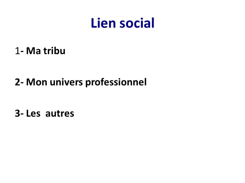 Lien social 1- Ma tribu 2- Mon univers professionnel 3- Les autres