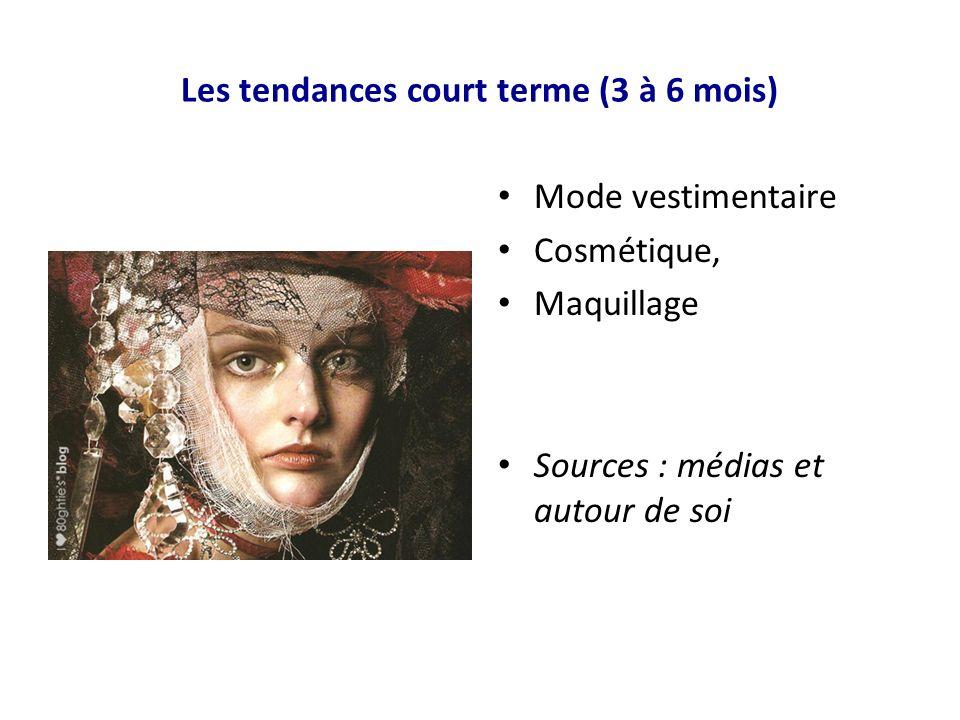 Les tendances court terme (3 à 6 mois) Mode vestimentaire Cosmétique, Maquillage Sources : médias et autour de soi