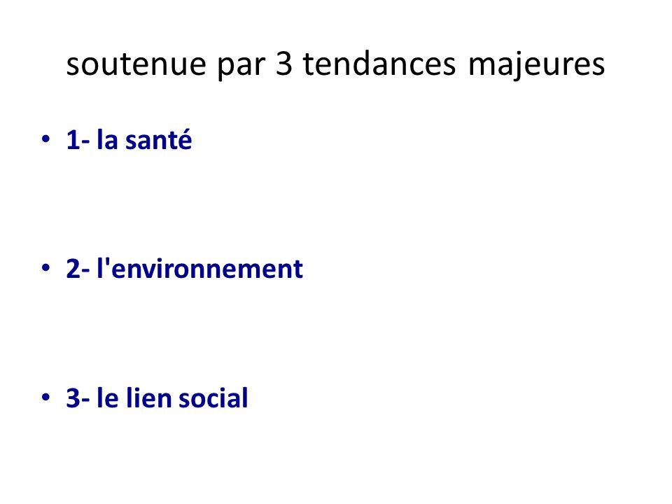 soutenue par 3 tendances majeures 1- la santé 2- l'environnement 3- le lien social
