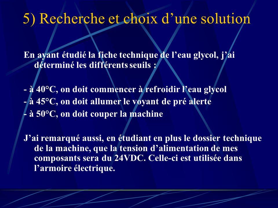 5) Recherche et choix dune solution En ayant étudié la fiche technique de leau glycol, jai déterminé les différents seuils : - à 40°C, on doit commencer à refroidir leau glycol - à 45°C, on doit allumer le voyant de pré alerte - à 50°C, on doit couper la machine Jai remarqué aussi, en étudiant en plus le dossier technique de la machine, que la tension dalimentation de mes composants sera du 24VDC.