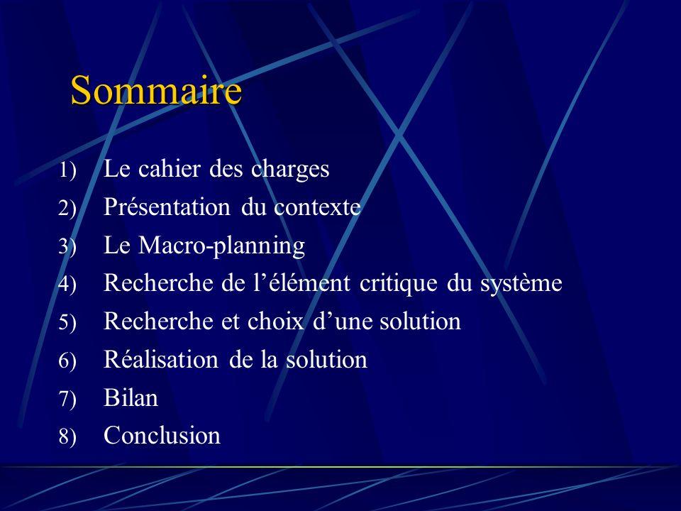 Sommaire 1) Le cahier des charges 2) Présentation du contexte 3) Le Macro-planning 4) Recherche de lélément critique du système 5) Recherche et choix dune solution 6) Réalisation de la solution 7) Bilan 8) Conclusion