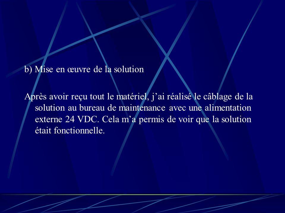 b) Mise en œuvre de la solution Après avoir reçu tout le matériel, jai réalisé le câblage de la solution au bureau de maintenance avec une alimentation externe 24 VDC.