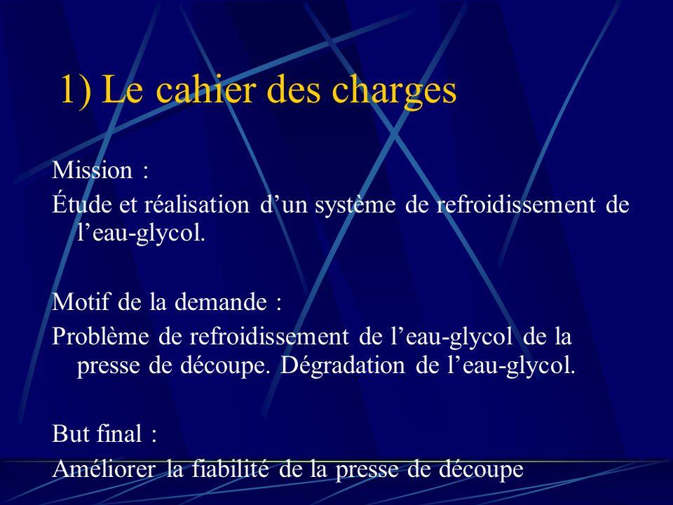 1) Le cahier des charges Mission : Étude et réalisation dun système de refroidissement de leau-glycol. Motif de la demande : Problème de refroidisseme