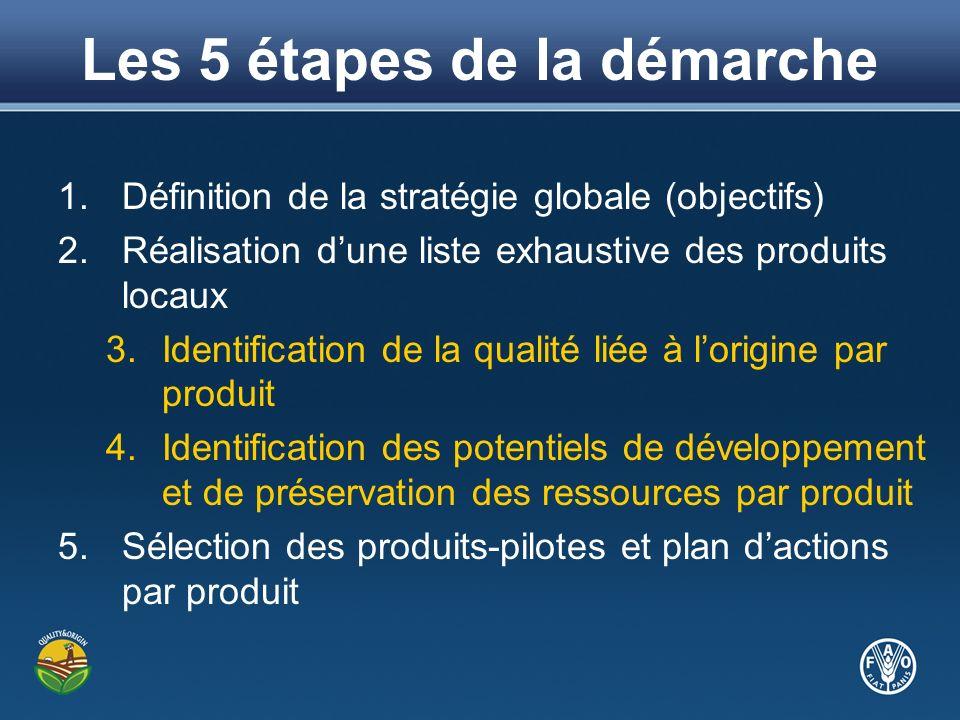 Les 5 étapes de la démarche 1.Définition de la stratégie globale (objectifs) 2.Réalisation dune liste exhaustive des produits locaux 3.Identification de la qualité liée à lorigine par produit 4.Identification des potentiels de développement et de préservation des ressources par produit 5.Sélection des produits-pilotes et plan dactions par produit