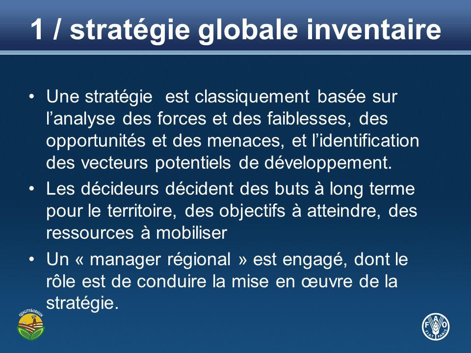 1 / stratégie globale inventaire Une stratégie est classiquement basée sur lanalyse des forces et des faiblesses, des opportunités et des menaces, et lidentification des vecteurs potentiels de développement.