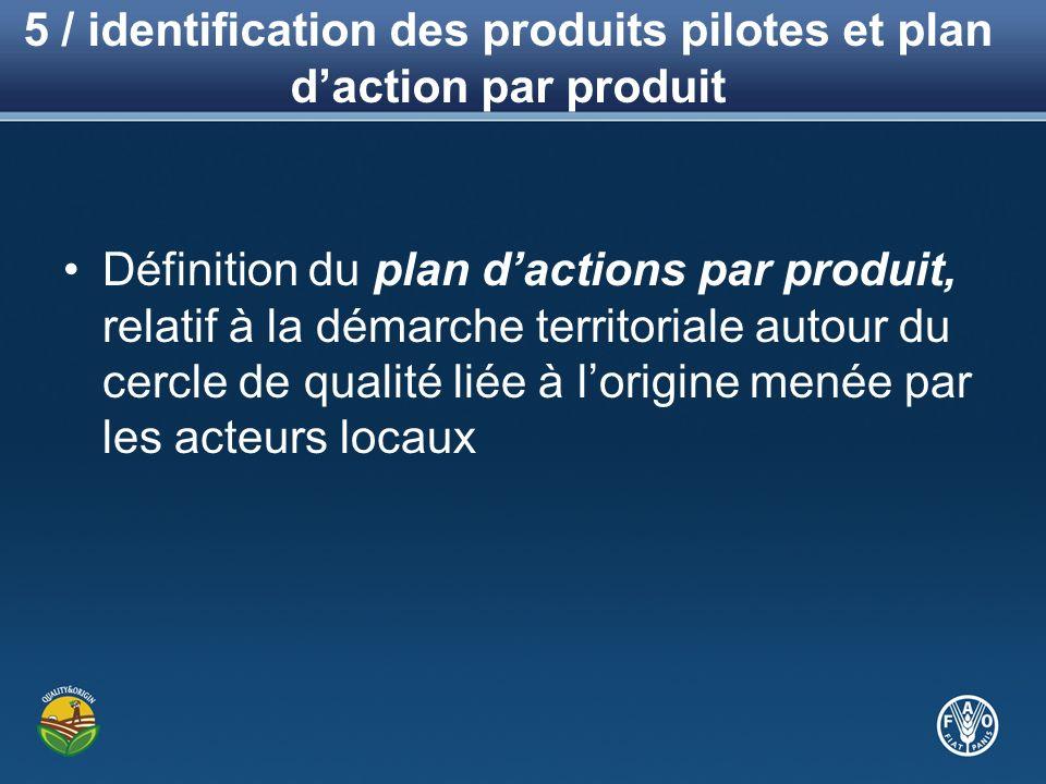5 / identification des produits pilotes et plan daction par produit Définition du plan dactions par produit, relatif à la démarche territoriale autour du cercle de qualité liée à lorigine menée par les acteurs locaux
