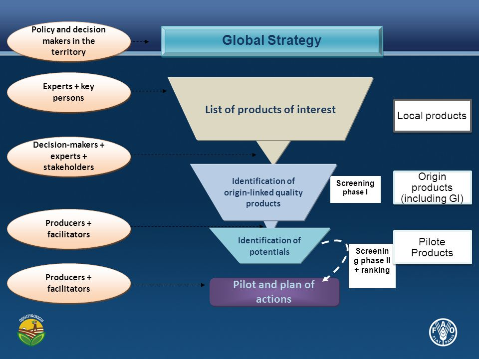 Screening phase I Screenin g phase II + ranking Global Strategy Pilot and plan of actions List of products of interest Identification of origin-linked