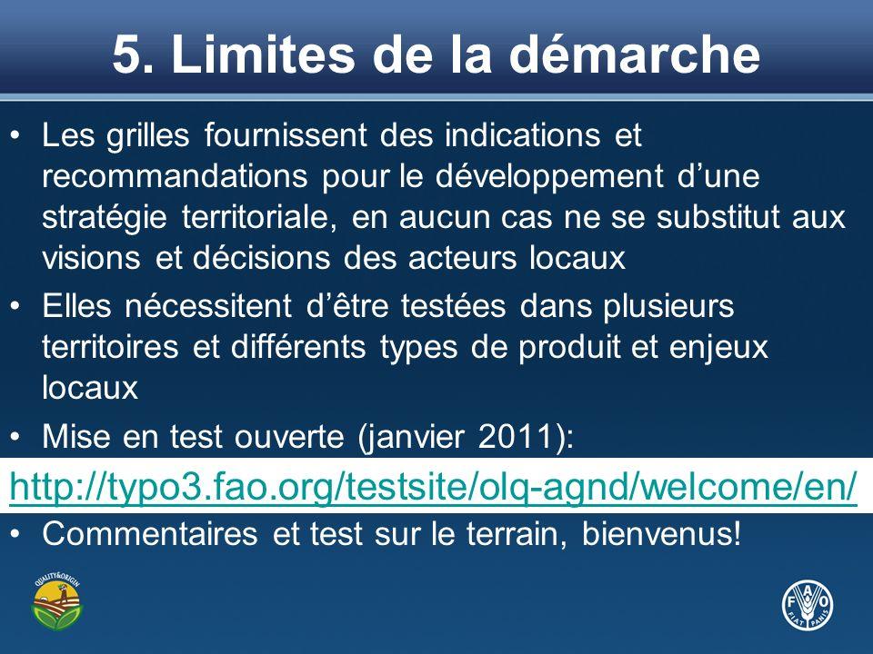 5. Limites de la démarche Les grilles fournissent des indications et recommandations pour le développement dune stratégie territoriale, en aucun cas n