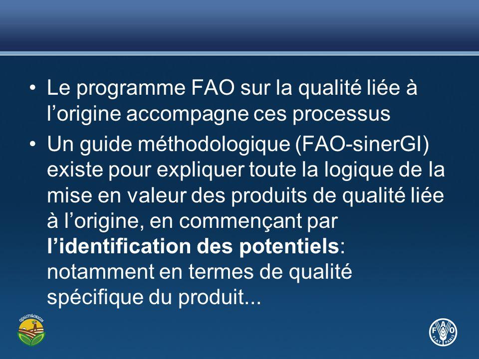 Le programme FAO sur la qualité liée à lorigine accompagne ces processus Un guide méthodologique (FAO-sinerGI) existe pour expliquer toute la logique de la mise en valeur des produits de qualité liée à lorigine, en commençant par lidentification des potentiels: notamment en termes de qualité spécifique du produit...