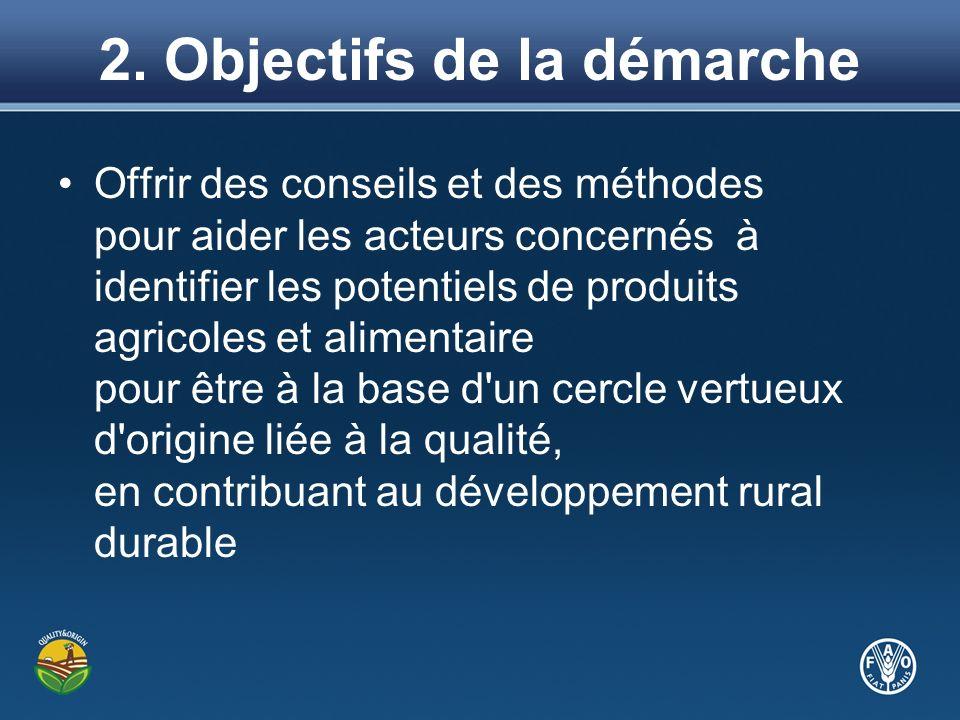 2. Objectifs de la démarche Offrir des conseils et des méthodes pour aider les acteurs concernés à identifier les potentiels de produits agricoles et