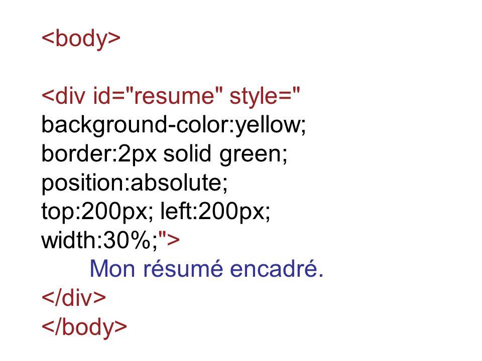 <div id= resume style= background-color:yellow; border:2px solid green; position:absolute; top:200px; left:200px; width:30%; > Mon résumé encadré.