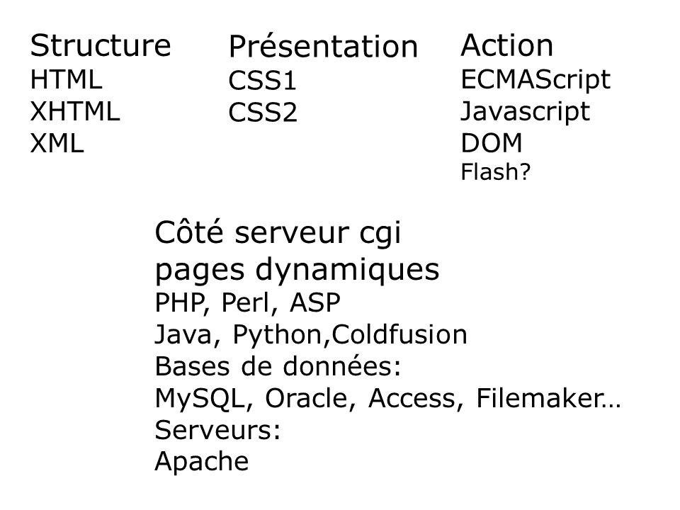 Structure HTML XHTML XML Présentation CSS1 CSS2 Action ECMAScript Javascript DOM Flash.
