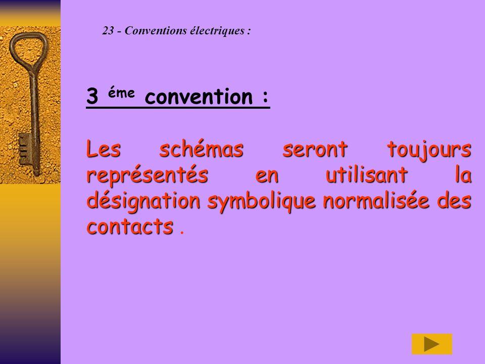 23 - Conventions électriques : 3 éme convention : Les schémas seront toujours représentés en utilisant la désignation symbolique normalisée des contacts Les schémas seront toujours représentés en utilisant la désignation symbolique normalisée des contacts.