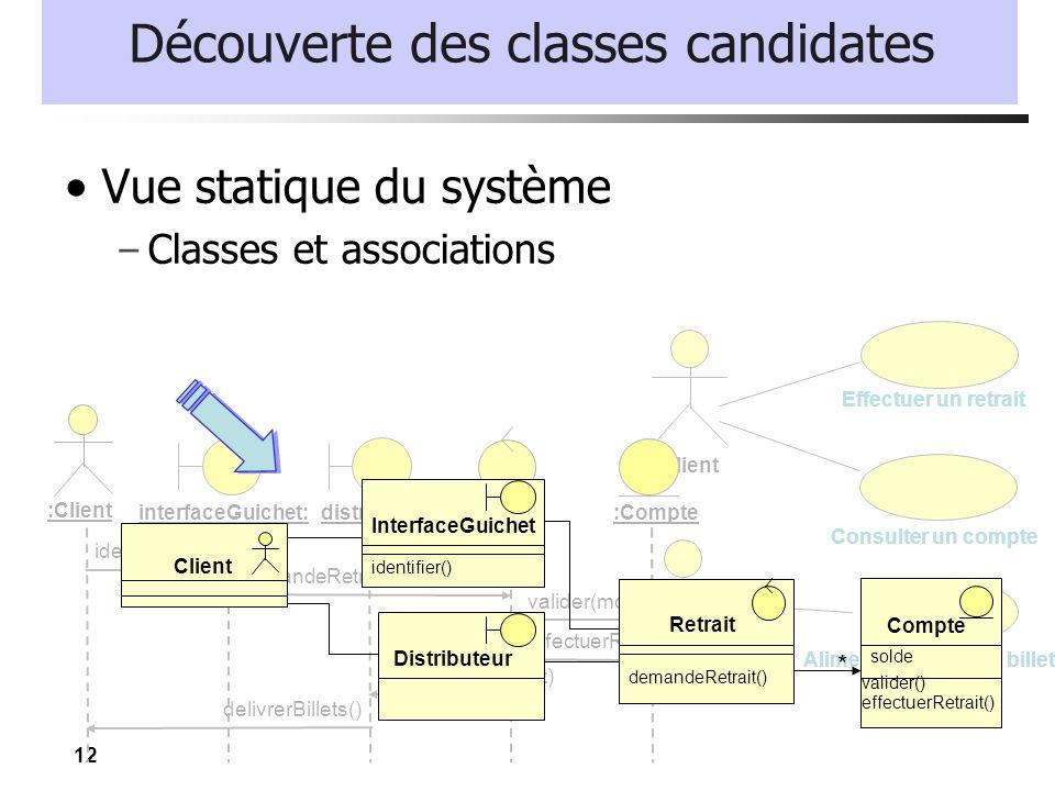 12 Découverte des classes candidates Vue statique du système – Classes et associations Client Guichet Automatique Bancaire Consulter un compte Operate