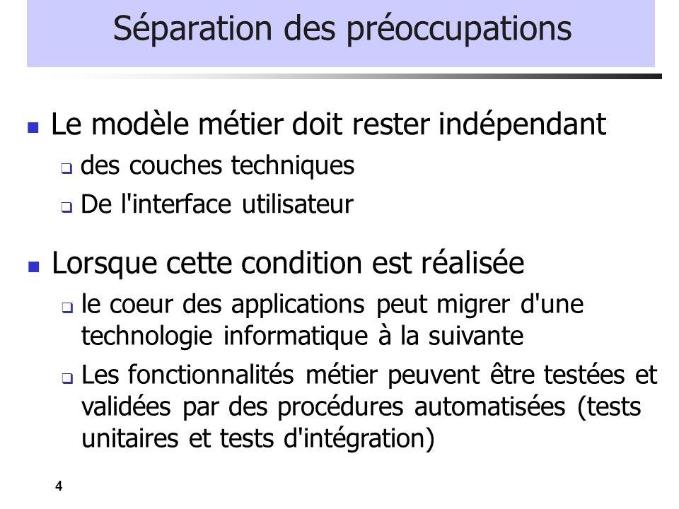4 Séparation des préoccupations Le modèle métier doit rester indépendant des couches techniques De l'interface utilisateur Lorsque cette condition est