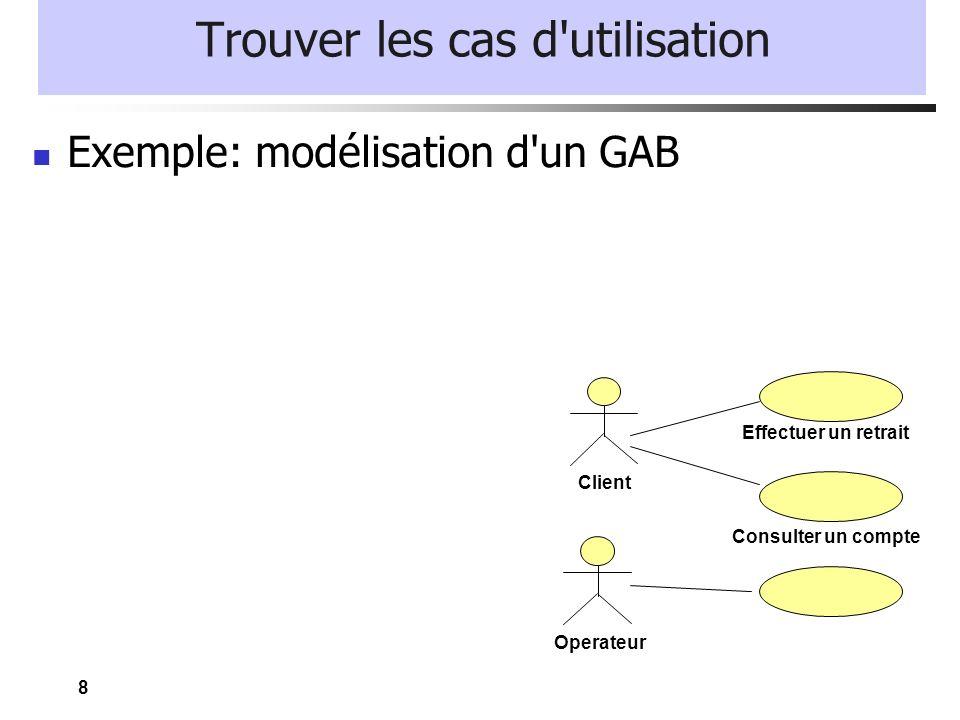 8 Trouver les cas d'utilisation Exemple: modélisation d'un GAB Client Effectuer un retrait Consulter un compte Operateur