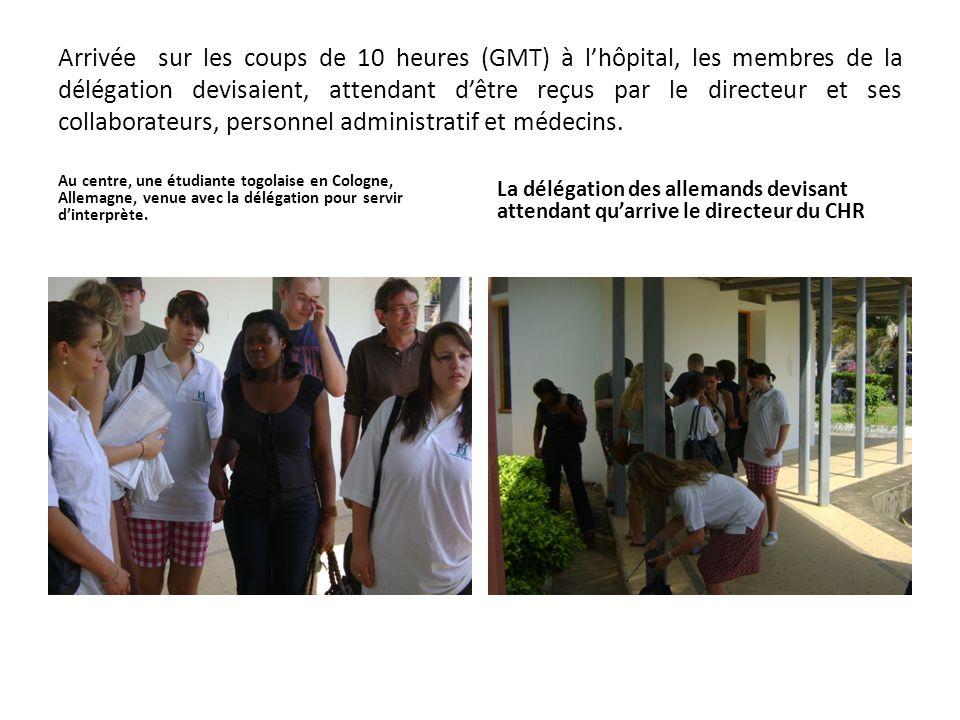 Arrivée sur les coups de 10 heures (GMT) à lhôpital, les membres de la délégation devisaient, attendant dêtre reçus par le directeur et ses collaborat