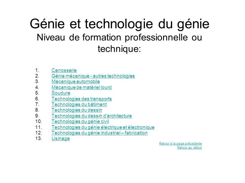 Génie et technologie du génie Niveau de formation professionnelle ou technique: 1.CarrosserieCarrosserie 2.Génie mécanique - autres technologiesGénie