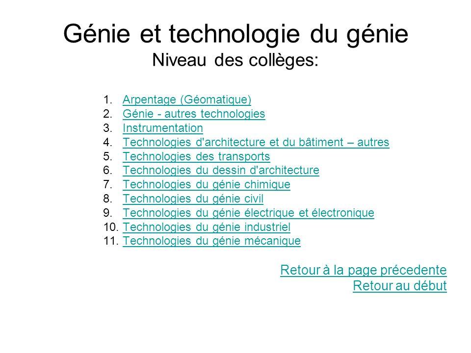 Génie et technologie du génie Niveau des collèges: 1.Arpentage (Géomatique)Arpentage (Géomatique) 2.Génie - autres technologiesGénie - autres technolo
