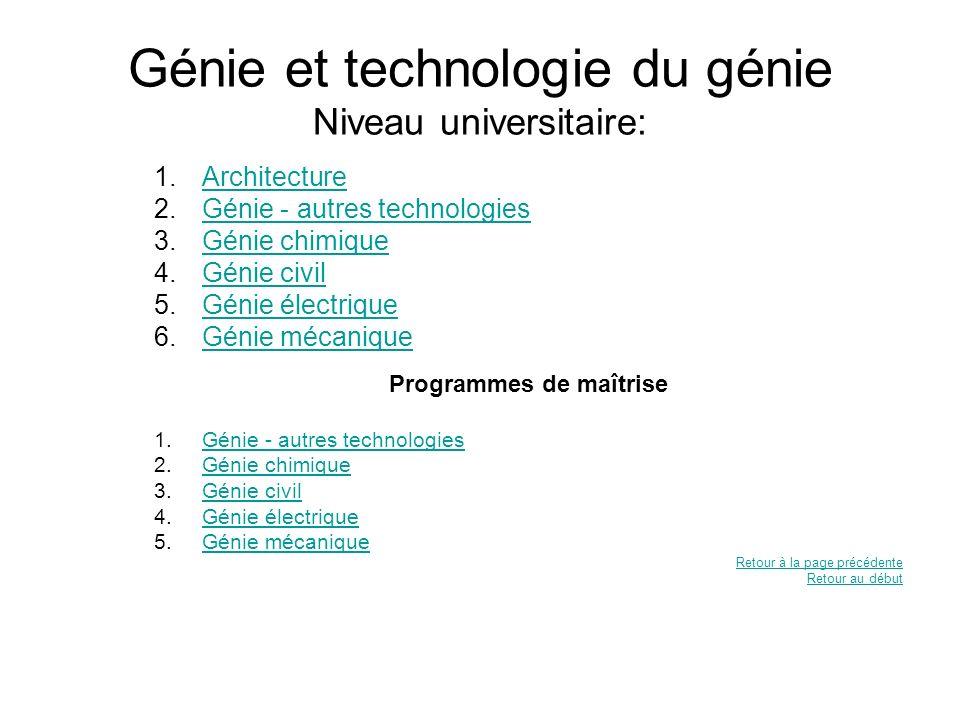 Génie et technologie du génie Niveau universitaire: 1.ArchitectureArchitecture 2.Génie - autres technologiesGénie - autres technologies 3.Génie chimiq
