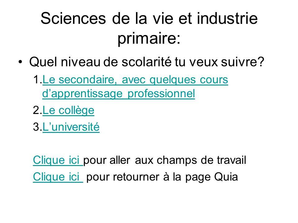 Sciences de la vie et industrie primaire: Quel niveau de scolarité tu veux suivre? 1.Le secondaire, avec quelques cours dapprentissage professionnelLe