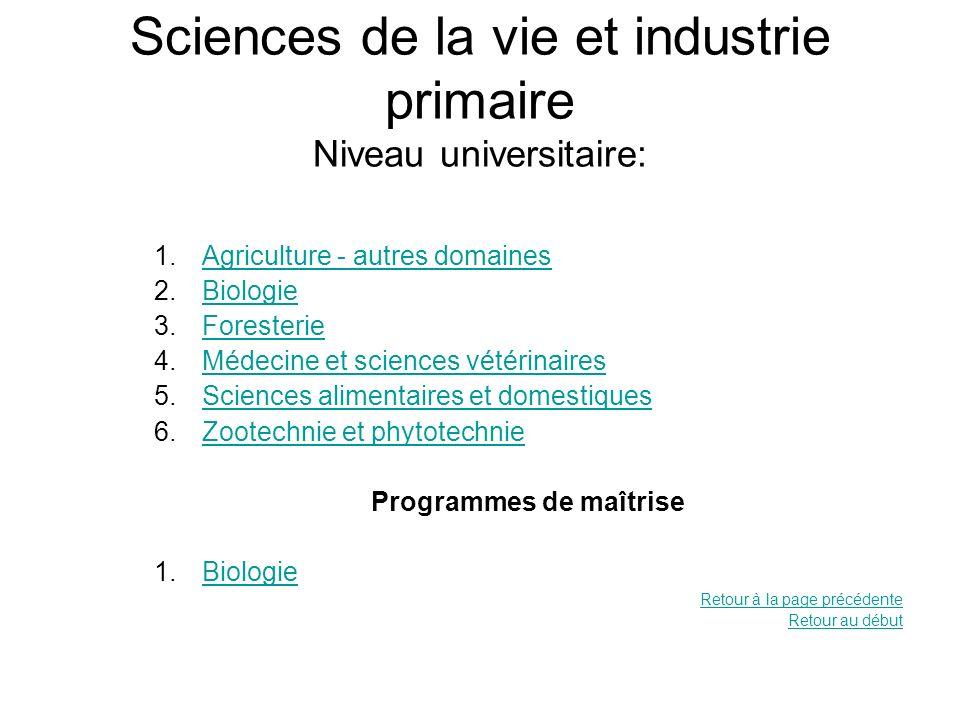 Sciences de la vie et industrie primaire Niveau universitaire: 1.Agriculture - autres domainesAgriculture - autres domaines 2.BiologieBiologie 3.Fores