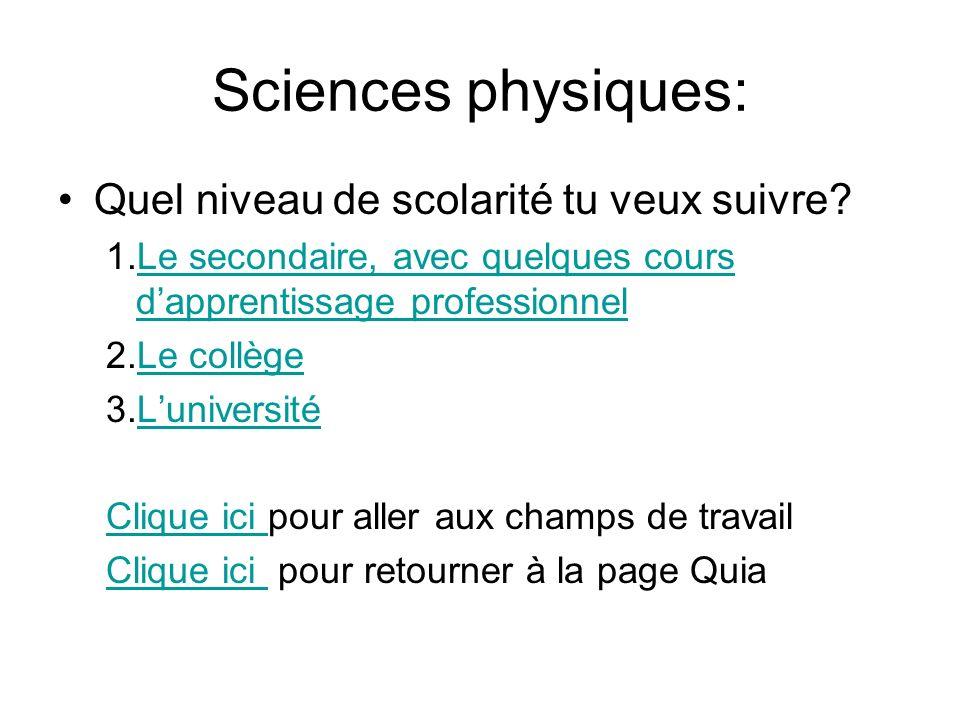 Sciences physiques: Quel niveau de scolarité tu veux suivre? 1.Le secondaire, avec quelques cours dapprentissage professionnelLe secondaire, avec quel