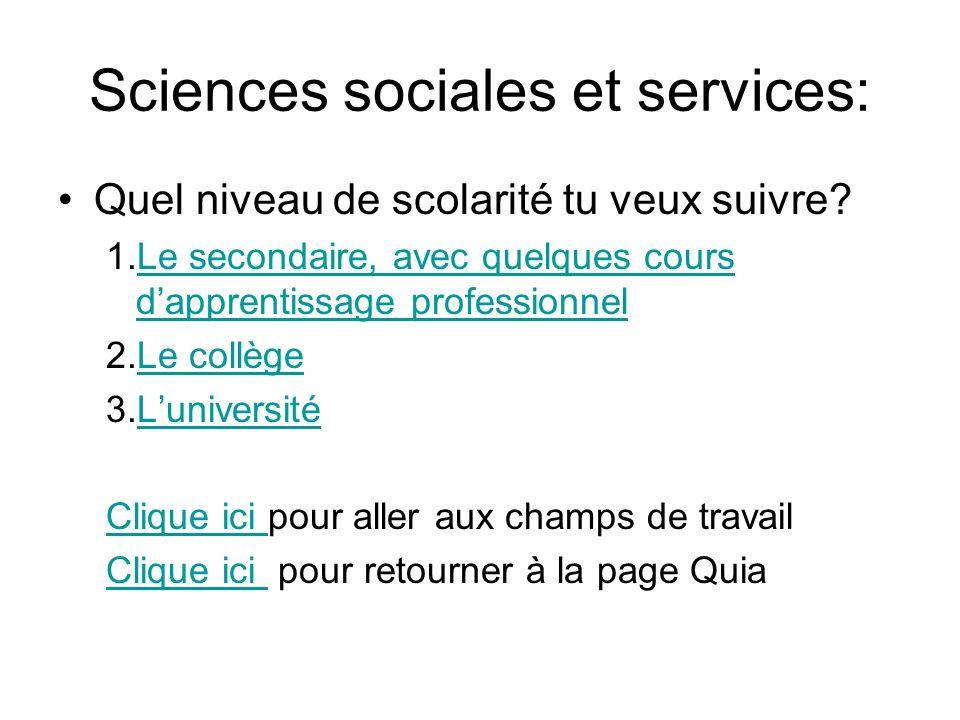 Sciences sociales et services: Quel niveau de scolarité tu veux suivre? 1.Le secondaire, avec quelques cours dapprentissage professionnelLe secondaire